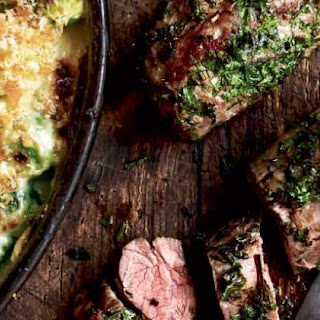 Herb-crusted Lamb With A Gratin Of Leeks And Brussels Sprouts