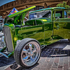 Blacktop Nationals - Green Coupe by Ron Meyers - Transportation Automobiles