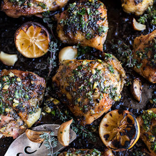 Garlic Butter Roasted Chicken Thighs with Charred Lemon Salsa Verde + Asparagus.