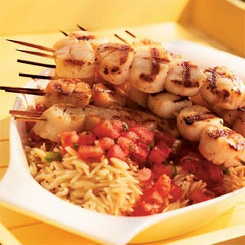 Grilled Scallops with Tomato-Mint Sauce and Orzo