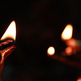 LIGHTEN UP.... by Ankur Dey - Abstract Fire & Fireworks ( puja, lamp, bokeh, worship, light, fire )
