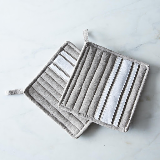 Striped Linen Potholders (Set of 2)