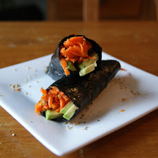 Shredded Carrot-Ginger Salad + Avocado Wrap