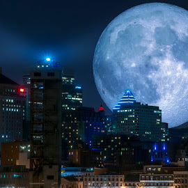 Mystic by Daniel Thomas - Digital Art Places ( montreal, building, moon, night, cityscape, moonlight, nightscape )