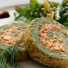 Spinach, Salmon And Herb Roulade With Rocket And Parmesan