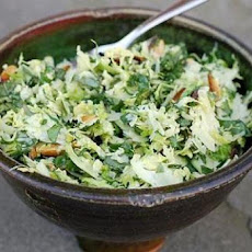 Shaved Brussels Sprout and Kale Slaw with Pecorino and Toasted Hazelnuts