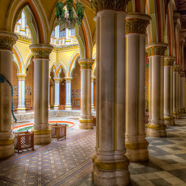 Pillars on the Main Floor at the Bangalore Palace by John Hoey - Buildings & Architecture Public & Historical ( royaty, bangalore, building, hdr, color, asia, india, architecture, travel, palace, tone-mapped )