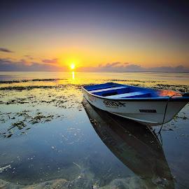 Still Waiting for You. by Komang Sunantara - Transportation Boats ( water, bali, karang beach, waterscape, sanur, sunshine, beach, seascape, sunrise, landscape, boat, sun )