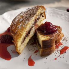 Chocolate Mascarpone Stuffed French Toast with Strawberry Syrup