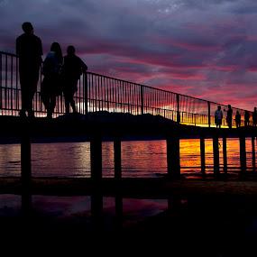 Lake Tahoe sunset by Drew Tarter - Buildings & Architecture Bridges & Suspended Structures ( sunset, scenics, bridge, landscapes, people, lake tahoe, golden hour )