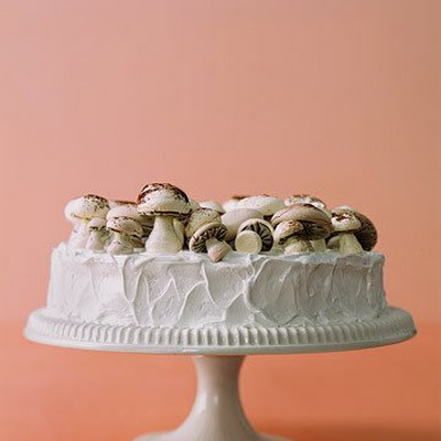 Frosted Fruitcake with Meringue Mushrooms