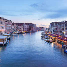 Grand Canal by Oscar Haraldsson - Landscapes Travel ( building, europe, boats, travel/session, transportation, architecture, boat, canal, panorama, gondola, aqueduct, lifestyle, venice, gondolas, italy, channel, construction )