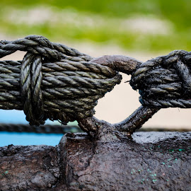Ropes tied with Engine & Boat by Ivon Murugesan - Artistic Objects Other Objects ( other objects, others, other object, other, rope, green, roope, artistic, artistic object, ropes, artistic objects, photography )
