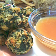 Hot Spinach Balls & Spicy Mustard Sauce