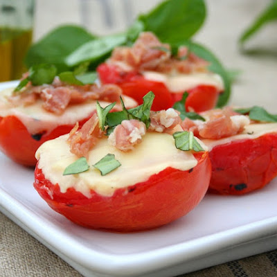 Grilled Tomatoes with Cheese, Prosciutto and Basil