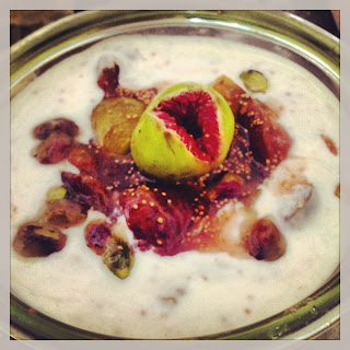 A simple healthy breakfast… Greek yoghurt with fig compote and pistachios