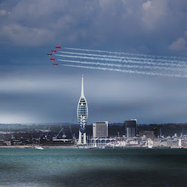 Red 2014 (1) by Kelly Murdoch - Transportation Airplanes ( red arrows, portsmouth, uk, england, red, iow, display, spinnaker tower, jets, isle of wight, raf, ztam, air, transport )