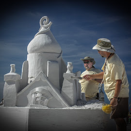 Almost Done by William Thompson - People Street & Candids ( sculpture, sand, beach )