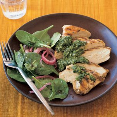 Grilled Chicken with Cilantro-Pumpkin Seed Pesto