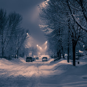 Night time on my street by Jack Brittain - City,  Street & Park  Night ( b&w, canada, olympus omd em-1, snow, night, ontario, mississauga )