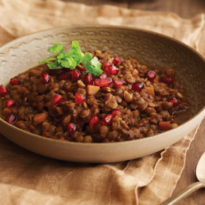 Lentils with Garam Masala, Coconut, and Pomegranate Seeds