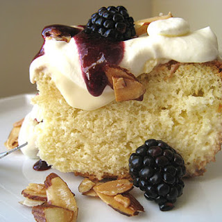 Tres Leches Cake with Blackberries and Maple-Glazed Almonds (adapted from a recipe by Vitaly and Kimberly Paley)