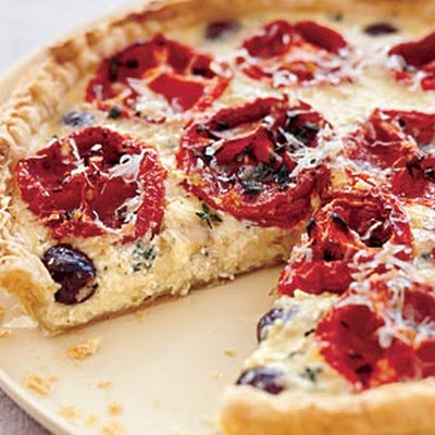 Oven-Dried Tomato Tart with Goat Cheese and Black Olives