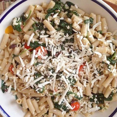 Gluten-Free Pasta with Ricotta Salata, Garlicky Spinach, Tomatoes, and Olives