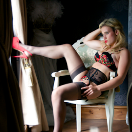 Cindy-Lee by Steve Smith - Nudes & Boudoir Boudoir ( stockings, chair, red, boudoir, suspenders )