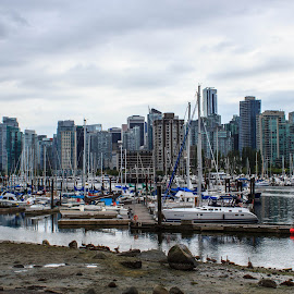 City Skyline by Devin Rieger - City,  Street & Park  Skylines ( water, skyline, canada, boats, sail, beach, marina, vancouver, city )