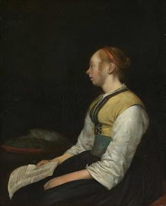 RIJKS: Gerard ter Borch (II): Seated Girl in Peasant Costume 1660