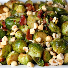 Brussels Sprouts w/ Applewood Smoked Bacon & Hazelnuts