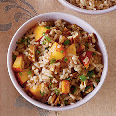 Sweet Tea Rice with Jalapeño, Peaches, and Pecans