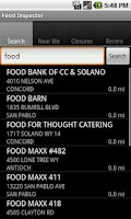 Screenshot of California Food Inspector