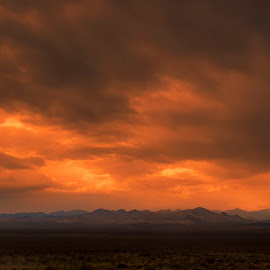 Storm Has Left  by Sam Okamoto - Landscapes Cloud Formations ( desert, nevada, clouds formation, sunset, storm )