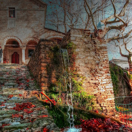 Makrinitsa by Stratos Lales - Instagram & Mobile Android ( church, leave, waterfall, path, trees )