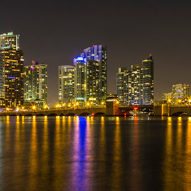 Julia Tuttle Causeway by Bill Kuhn - City,  Street & Park  Skylines ( water, interstate, intracoastal waterway, miami, 195, reflections, city, mariott, draw bridge, julia tuttle causeway, buildings, night, long exposure, street lights, downtown )