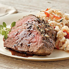 Lobster Risotto with Herb-rubbed Beef Tenderloin