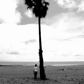 Lonely by San Jay - Digital Art Places ( clouds, sand, sky, girl, black and white, beach, lonely )