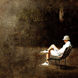 Between Acts by Bjørn Borge-Lunde - Digital Art Places ( reading, park, bench, city life, city park, portrait, man )