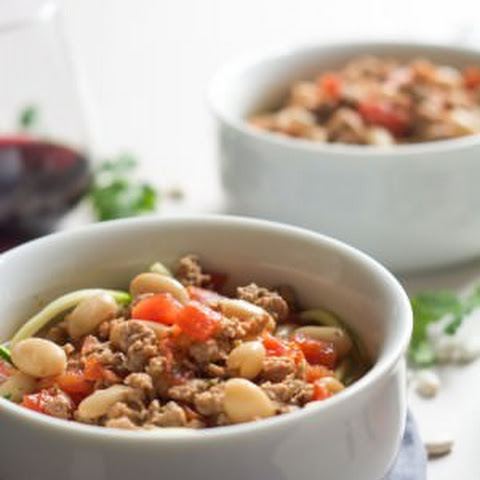Tuscan Italian Sausage and White Bean Soup with Zucchini Noodles