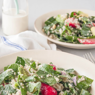 Collard Green Salad with Strawberries & Tahini Dressing