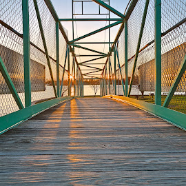 Casino Island Sunset Bridge by Nicolas Raymond - Buildings & Architecture Bridges & Suspended Structures ( shore, america, wood, colorful, waterscape, state, vibrant, architecture, transportation, wide-angle, coastline, usa, coast, island, fencing, symmetrical, colourful, alexandria bay, metal, new york state, casino island, shoreline, metallic, mesh, water, structure, building, hdr, symmetric, alexadria, new york, scenic, coastal, united states, fence, wooden, bay, sunset, wide angle, sundown, scene, symmetry, bridge, sunrise, scenery, river,  )