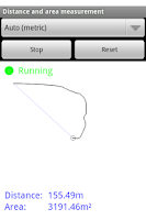 Screenshot of Distance and area measurement