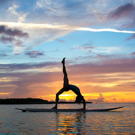 Paddleboard Yoga by Troy Wheatley - Sports & Fitness Other Sports ( sunset, ocean, paddleboard, sup, yoga )