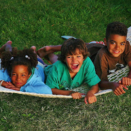 The Trio by Alvin Simpson - Babies & Children Children Candids ( canon, grass, happy, children, kids, rebel, smile, hammock )