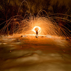 Spinning III by Mark Rogers - Abstract Fire & Fireworks ( spinning, snow, night, long exposure, sparks )