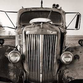 Old White Superpower in Sepia by Julie Dant - Transportation Automobiles ( old vehicles, black and white, old trucks, antique trucks, nostalgia )