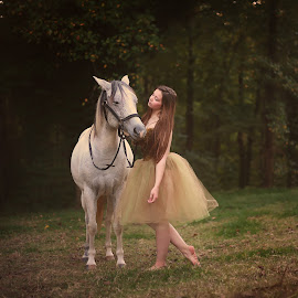 Duchess and The Dancer  by Annamarie Dearr - Animals Horses ( love, animals, best friends, horses, candid, ballet, dance )