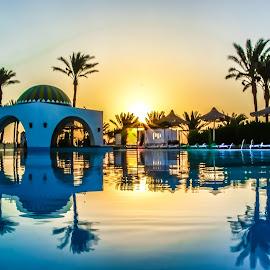 Sunrise Reflection by Bassam El Oraby - Landscapes Sunsets & Sunrises ( blue sky, blue, blue hour, blue skies, blue water )